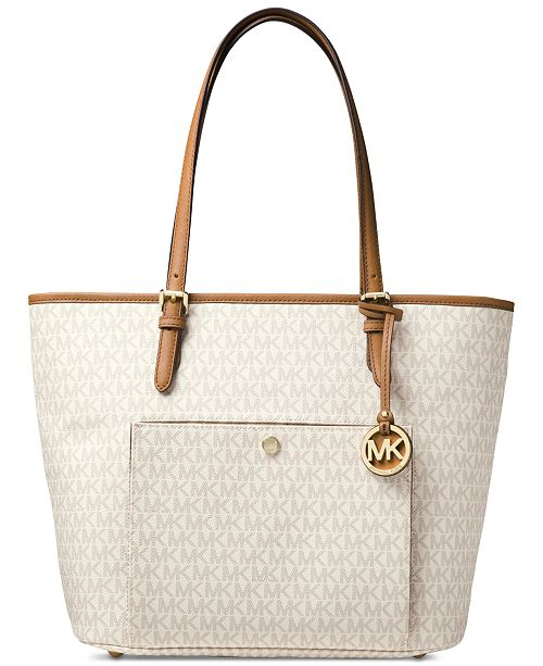 379c9228e5 Michael Kors Signature Jet Set Item Large Top Zip Snap Pocket Tote ...
