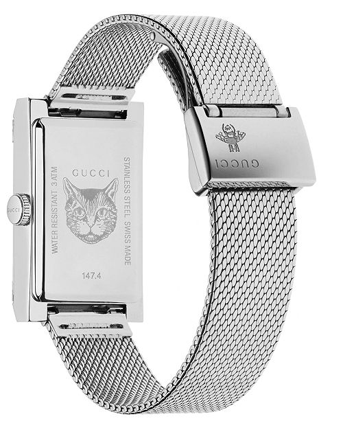 4f610f24c64 ... Gucci Women s Swiss G-Frame Stainless Steel Mesh Bracelet Watch 21x34mm  ...