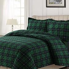 Cambridge Plaid Cotton Flannel Printed Oversized Quilt Sets
