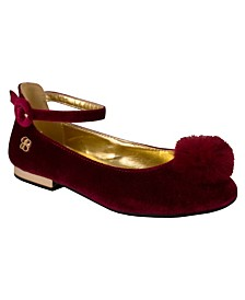 Bordeaux Velvet Flat with Pom