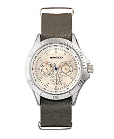Quartz Dixon Silver And Grey Genuine Leather Watches 43mm