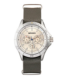 Breed Quartz Dixon Silver And Grey Genuine Leather Watches 43mm