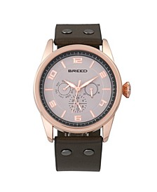 Quartz Rio Rose Gold And Brown Genuine Leather Watches 43mm