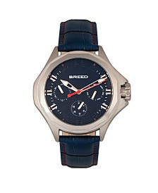 Breed Quartz Tempe Blue And Silver Genuine Leather Watches 43mm