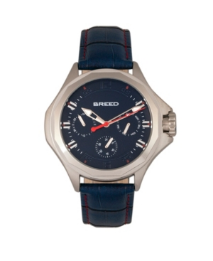 Quartz Tempe Blue And Silver Genuine Leather Watches 43mm