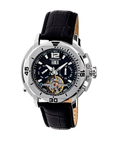 Heritor Automatic Lennon Silver & Black Leather Watches 45mm