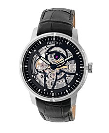 Automatic Ryder Black & Silver & Black Leather Watches 44mm