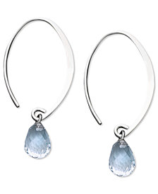 14k White Gold Earrings, Aquamarine Brio Hoop Earrings (3 ct. t.w.)