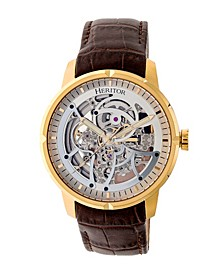 Automatic Ryder Brown & Gold & Silver Leather Watches 44mm