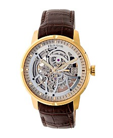 Heritor Automatic Ryder Brown & Gold & Silver Leather Watches 44mm
