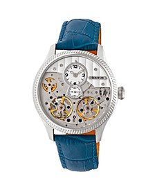 Automatic Winthrop Silver & Blue Leather Watches 41mm