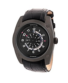 Automatic Daniels Black Leather Watches 43mm