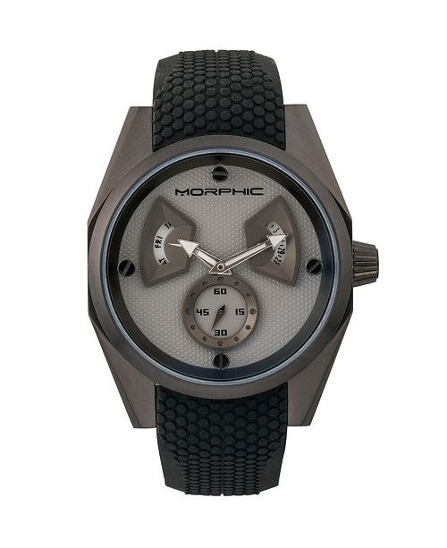 Morphic M34 Series, Black/Grey Silicone Watch, 44mm