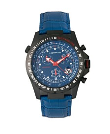Morphic M36 Series, Black Case Blue Leather Band Chronograph Watch, 44mm
