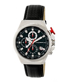 Morphic M39 Series, Silver Case, Black Leather Band Chronograph Watch, 43mm