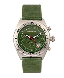 M53 Series, Silver Case, Chronograph Fiber Weaved Olive Leather Band Watch w/Date, 45mm