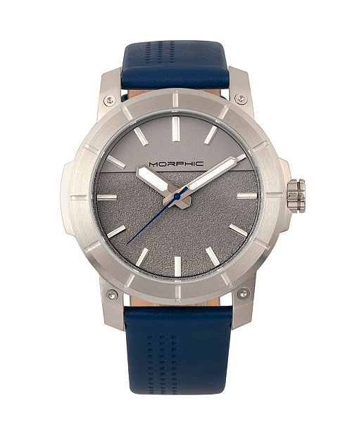 Morphic M54 Series, Silver Case, Navy Leather Band Chronograph Watch, 46mm