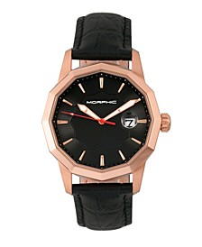 M56 Series, Rose Gold Case, Black Leather Band Watch w/Date, 42mm