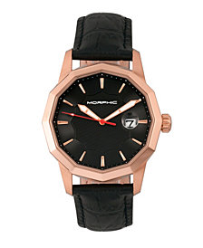 Morphic M56 Series Leather-Band Watch w/Date - Rose Gold/Black