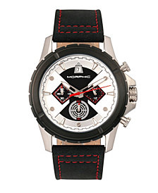 Morphic M57 Series, Silver Case, Black Chronograph Leather Band Watch, 43mm