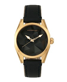 Morphic M59 Series, Gold Case, Black Leather Overlaid Canvas Band Watch, 44mm
