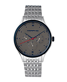 Morphic M65 Series, Grey Face, Silver Bracelet Watch w/Day/Date, 42mm