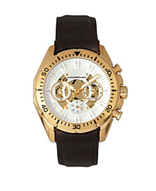Morphic M66 Series, Skeleton Dial, Gold Case, Dark Brown Leather Band Watch w/Day/Date, 45mm