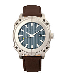 Morphic M68 Series, Silver Case, Brown Leather Band Watch w/Date, 44mm