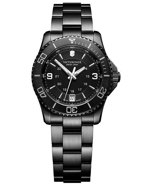d10cc7da5384 ... Victorinox Swiss Army Women s Swiss Maverick Small Black Edition Black  Stainless Steel Bracelet Watch 34mm ...