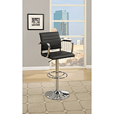Faux Leather Bar Stool with Gas Lift Chrome Base, Set of 2