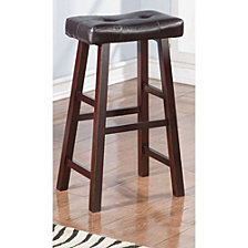 Leather Upholstered Wooden Bar Stools, Brown, Set Of 2