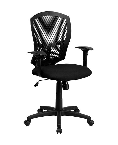 Clickhere2shop Mid-Back Designer Back Drafting Stool with Padded Fabric Seat and Arms