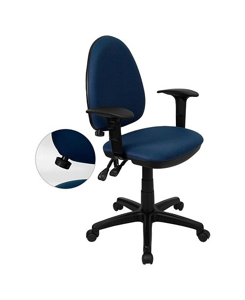 Clickhere2shop Mid-Back Navy Blue Fabric Multi-Functional Task Chair with Arms and Adjustable Lumbar Support