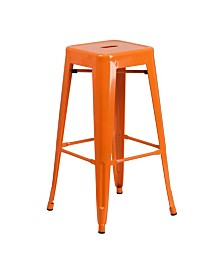 Clickhere2shop 30'' High Backless Metal Indoor-Outdoor Barstool with Square Seat