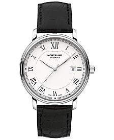 Montblanc Men's Swiss Automatic Tradition Date Automatic Black Alligator Leather Strap Watch 40mm