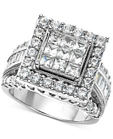 Diamond Princess Halo Cluster Engagement Ring (2-1/2 ct. t.w.) in 14k White Gold