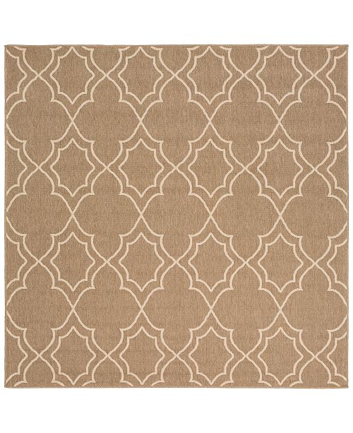 "Surya Alfresco ALF-9587 Camel 7'3"" Square Area Rug, Indoor/Outdoor"