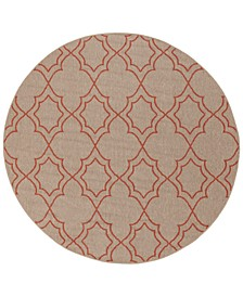 "Alfresco ALF-9588 Camel 5'3"" Round Area Rug, Indoor/Outdoor"