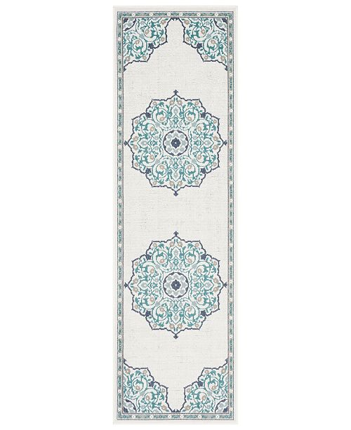 "Surya Alfresco ALF-9677 Teal 2'3"" x 11'9"" Runner Area Rug, Indoor/Outdoor"