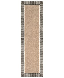 "Alfresco ALF-9684 Camel 2'3"" x 7'9"" Runner Area Rug, Indoor/Outdoor"