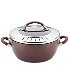 Circulon Symmetry Merlot Hard-Anodized Nonstick 5.5-Quart Covered Straining Casserole