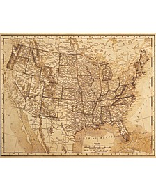 "Vintage United States Map Sepia 16"" X 20"" Canvas Wall Art Print"