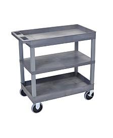 "Clickhere2shop 32"" x 18"" Two Tub/One Flat Shelves Utility Cart - Gray Shelves/Gray Legs OF-EC121HD-G"