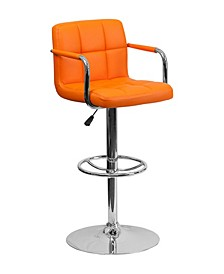 Contemporary Quilted Vinyl Adjustable Height Bar Stool with Arms and Chrome Base