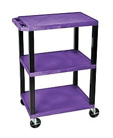 Clickhere2shop OF-WT34PS-B - Multipurpose Utility A/V Cart 3 Shelves - Black Legs