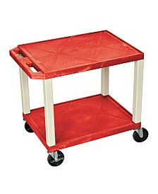 "Offex 26""H Tuffy AV Cart with Two Shelves - Red Shelves/Black Legs"