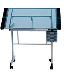 Offex Vision Craft Station - Silver/Blue Glass