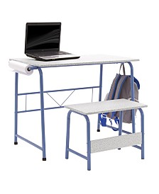 Offex Project Center, Kids Craft Table with Bench - Blue/Spatter Gray