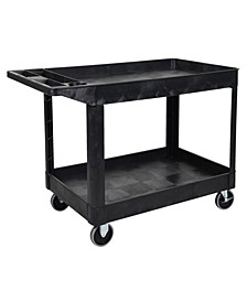 "33"" Two Tub Shelves Heavy - Duty Utility Cart - Black"