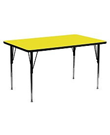 Offex 30''W x 72''L Rectangular Activity Table with 1.25'' Thick High Pressure Yellow Laminate Top and Standard Height Adjustable Legs